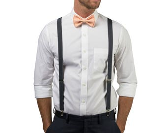 Peach Bow Tie & Charcoal Gray Suspenders for Baby Toddler Boy Men