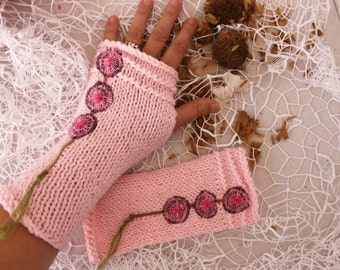 Pink knitted gloves, Pink arm warmers, Fingerless gloves, knitted arm warmers, hot pink gloves, unique gloves, women's christmas gift