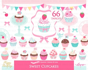 Sweet Cupcakes, Cupcake Party, Cupcake Digital, Cupcake Stand, Cupcake Birthday, Cupcake Clip Art - Instant  Download - CA053