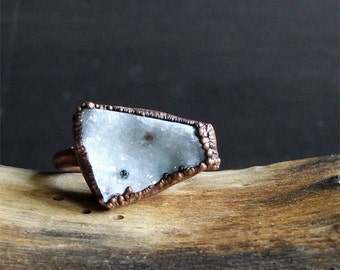 Druzy Crystal Quartz Ring Rough Stone Jewelry Copper Raw Stone Ring Midwest Alchemy Size 5 Ring