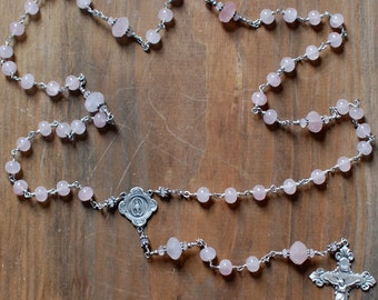 Rose Quartz and Sterling Silver Rosary