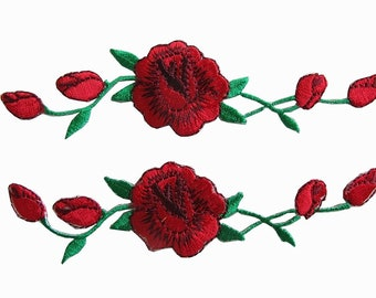 Pair of red rose patches -  Embroidered Applique Iron On for Vans, Bags, Shirts, Jeans