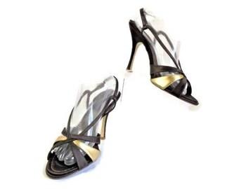 BCBGirls Size 9 Med Black And Gold Slingback Open Toe Pumps