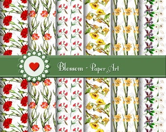 Digital Paper Wild Flowers Digital Paper Pack, Flowers, Digital Scrapbooking Paper Pack - Vintage Flowers - 1591