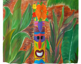 Tiki house tropical design shower curtain from my art