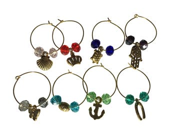 Wine Glass Charms- Cut glass beads with golden charms