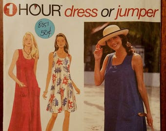 Simplicity 9615 - Misses Dress or Jumper Pattern - Sizes Extra Small, Small, and Medium - Ladies and Women's One Hour Dress Pattern