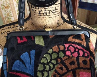 Vintage 1950s 1960s Handbag Purse Brushed Velvet Cara Made In USA Art Deco Pattern Faux Leather Handle Blue Pink Mauve Black Green Brown