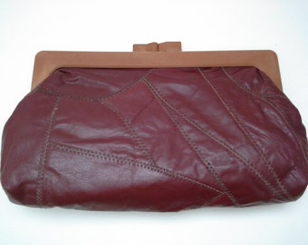 Burgundy Clutch, 1970s Leather Clutch, Leather Clutch, Patchwork Clutch, Maroon Clutch, Wine Clutch, Bordeaux Clutch, 1970s Purse