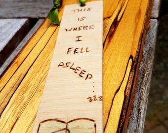 Bookmark, Woodburned with ribbon and Bead, handdrawn pyrography design, This is where I fell asleep with an open book, avid reader gift