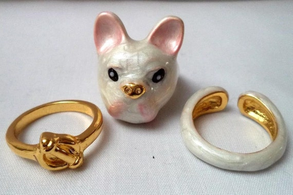 Exciting Bull Terrier White Enamel & Goldtone 3 staking Rings Set size 7 to Size 8 Super Adorable Cute Fun Unique