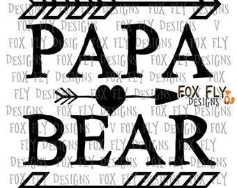 Papa Beare SVG Digital Download Mama Bear, Baby Bear, Silhouette