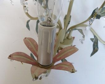 Decorative Metal Chandelier Painted Tole flowers & Leaves