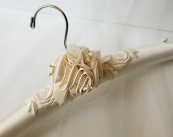 Bridal Gown Hanger, Bridal Covered Hanger,  Padded Bridal Hanger, Lingerie Hanger, Hanger for Brides Gown, Lace Hanger, Brides Hanger