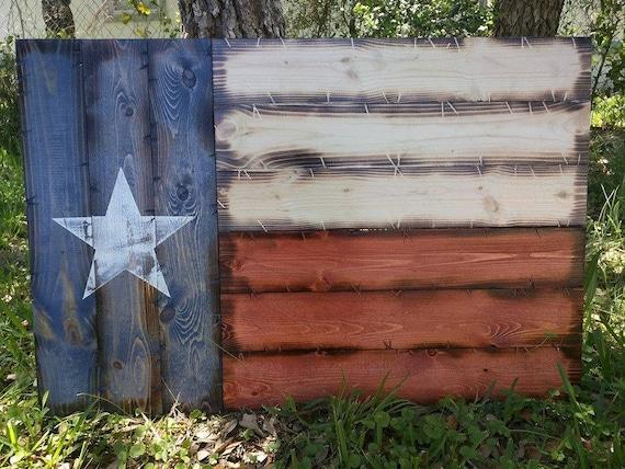 "21""x32"" Handmade Wooden Rustic-style Texas Flag"