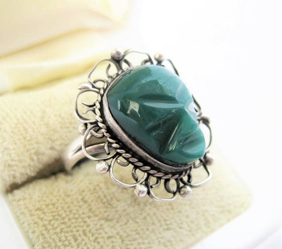 Sterling Tribal Face Ring, 925  Carved Green Onyx, Size 6, Aztec Jewelry
