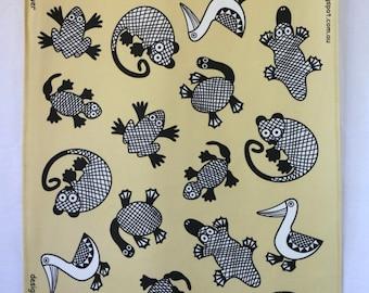 Australian Animals Tea Towel - cream
