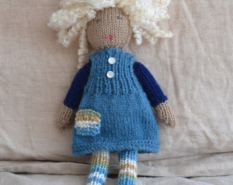 Unique hand knitted doll