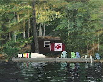 Reproduction - Cabin with Hudson Bay Canoe