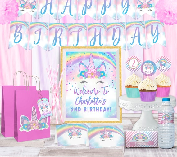 Unicorn Party Printable Package, Unicorn Birthday, Rainbow Unicorn Decorations, Tags, Signs, Cupcake Toppers, Labels, Tent Cards, Banner