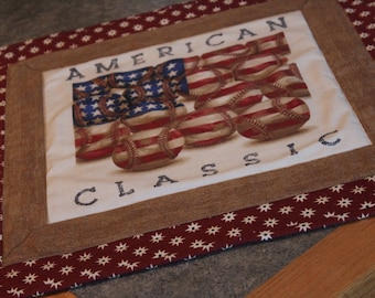 Red Stars American Classic Baseballs 21  X 21 Table Runner Topper
