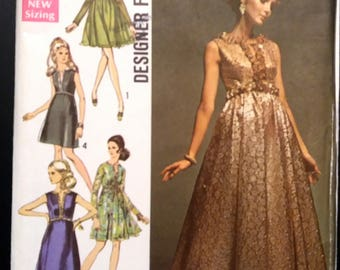 Simplicity 8497 Misses' Evening Dress With Two Skirts in Two Lengths Size 14 Bust 34. UNCUT (1969)