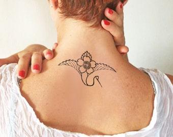 Flower crane - Temporary tattoo (Set of 2)
