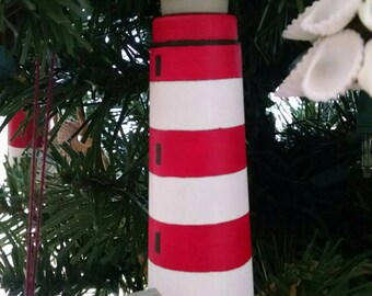 Assateague Island Lighthouse Ornament, hand painted on wood, Virginia Lighthouse, Ships for FREE