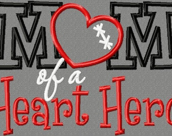 5x7 Mom of a Heart Hero 5x7 Embroidery design, CHD awareness, heart disease