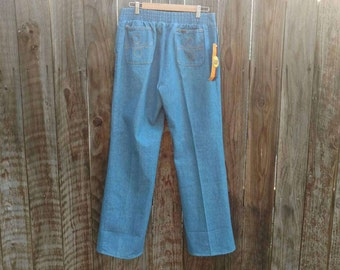 Vintage NOS New Old Stock w/ Tags Men's 70's Disco Lee Denim Jeans Elastic Waist European Flare 38 M
