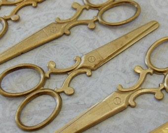 2- XL Scissor Charms, Natural Brass (CSN1)