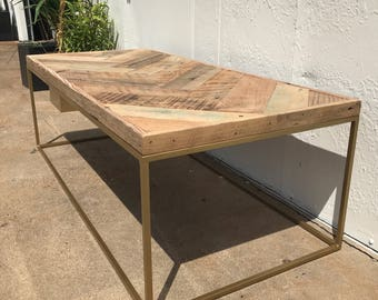 Gold Frame & Reclaimed Wood Coffee Table (chevron)