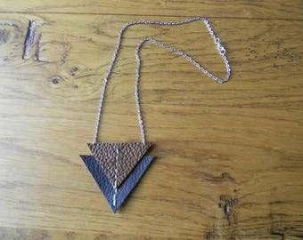 Necklace chain silver dark brown/brown leather