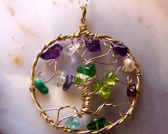 14 Karat Gold fill Family Tree necklace pendant and chain - Ancestry Birthstone great grandmother mother in law - Personalized gift  for Mom