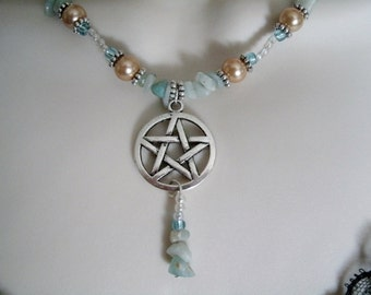 Madrugada Dawn Pentacle Necklace, wiccan jewelry pagan jewelry wicca jewelry witch witchcraft pentagram metaphysical goddess magic necklace