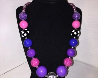 Purple Poppy Chunky Necklace