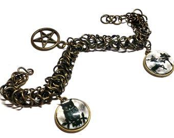 Bronze Box-weave Pagan Charm Bracelet
