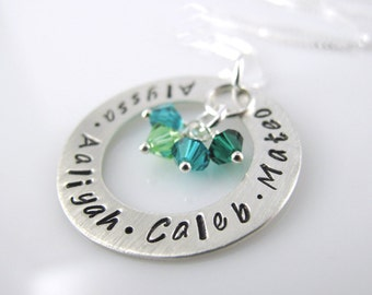 """Name Personalized Keepsake Necklace - 1"""" Hand Stamped Personalized Sterling Silver Donut, Swarovski Birthstone Crystals"""