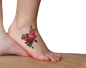 Pink & Purple Roses temporary tattoo / Symbol of Promise of Love / Gift for Wife, Fiancèe Outdoor Explorer / Speak with the Flowers language