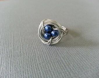 Deep Blue Bird Nest Necklace