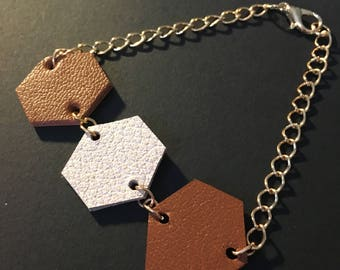 Bracelet leather - HEXAGON - Tan and ivory