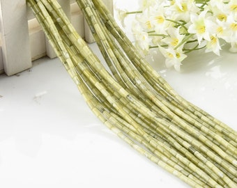 One Strand 3*6MM Natural Chrysoprase Cylinder Beads
