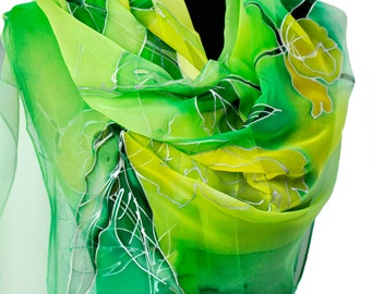 Green Floral Scarf/Hand painted Silk Scarf/Silk chiffon long scarf/Luxury woman accessory/Painting flowers/Luxury silk chiffon scarf/S0025
