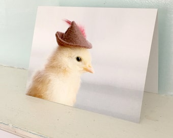 Chicken Wearing Miniature Robin Hood Hat Card Chicks in Hats Baby Animal Notecard Cute Stationary #95