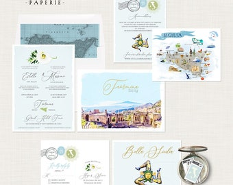 Sicily Taormina Italy Italian Sicilian Destination wedding invitation set watercolor illustration and illustrated Sicily map Deposit Payment