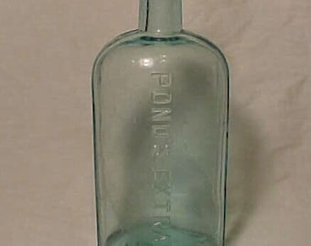 c1890s Pond's Extract 1846 , Aqua Glass Cork Top Blown Glass Medicine Bottle No. 1