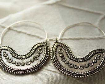Bohemian earrings Silver earrings gypsy ethnic earrings Tribal earrings Unusual earrings Boho earrings Indian earrings bohemian jewelry boho