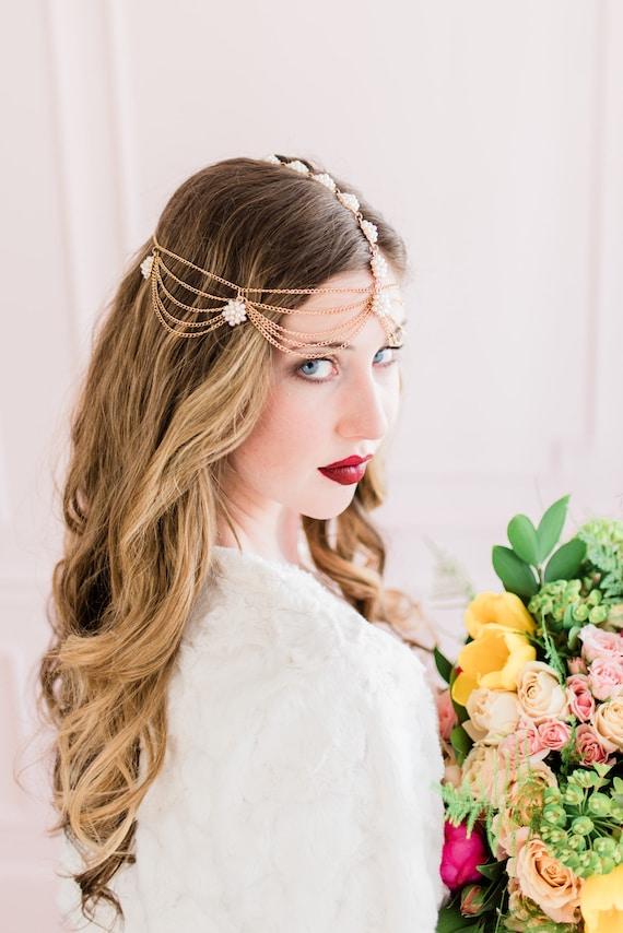 Bridal Headpiece, Head Chain, Bridal Hair Chain, Pearl Head Chain, Bohemian Bridal Headpiece, Pearl Hair Chian, Boho Wedding, Boho AVERY