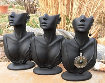"""Elegant Black 12"""" Half Face Mannequin Style Necklace and Earring or Scarf Display"""