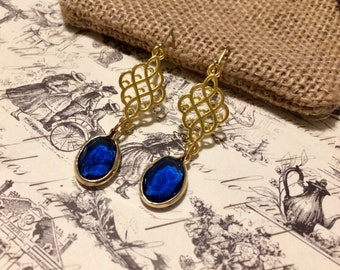 Sapphire and Gold Dangle Earrings